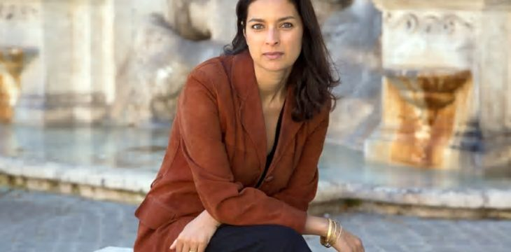 Jhumpa Lahiri, beside the fountain in Trastevere, the Roman neighbourhood in which she lives